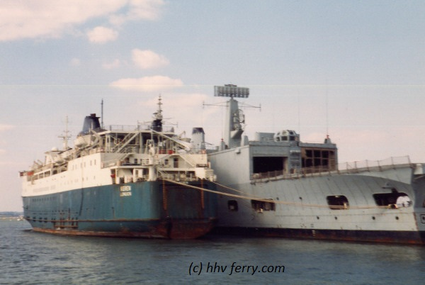 HMS Keren laid up in Portsmouth harbour in September 1985